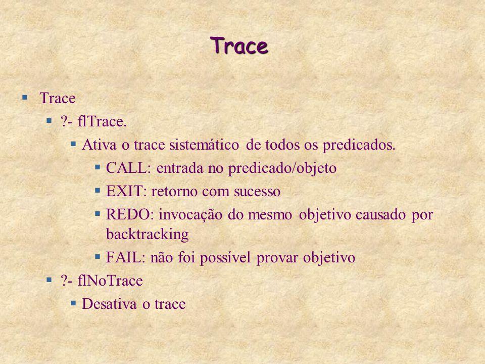 Trace  Trace  - flTrace.  Ativa o trace sistemático de todos os predicados.