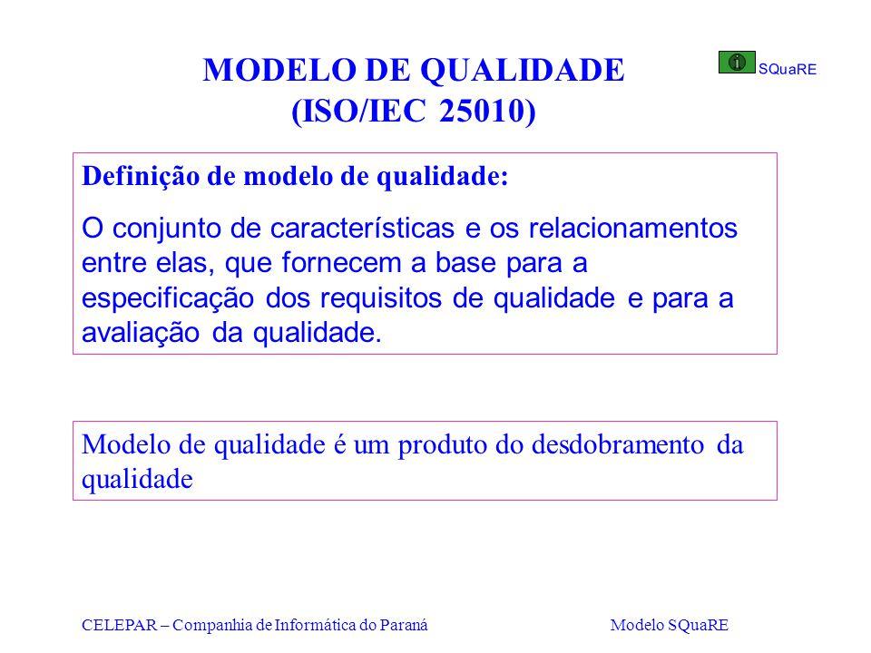 CELEPAR – Companhia de Informática do Paraná Modelo SQuaRE MODELO DE QUALIDADE (ISO/IEC 25010) Definição de modelo de qualidade: O conjunto de caracte
