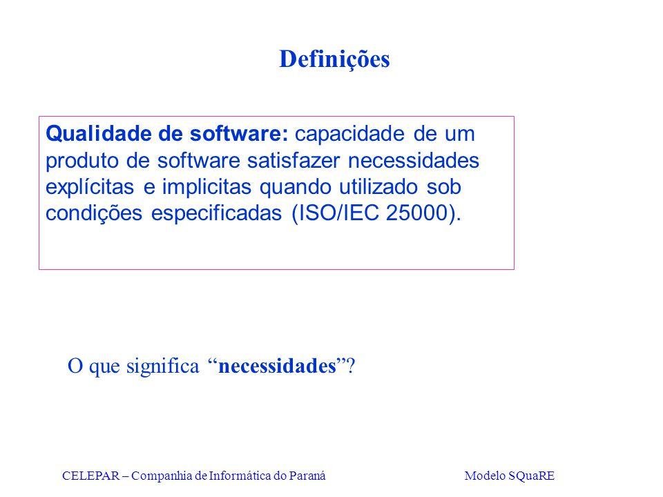 CELEPAR – Companhia de Informática do Paraná Modelo SQuaRE Definições Qualidade de software: capacidade de um produto de software satisfazer necessida