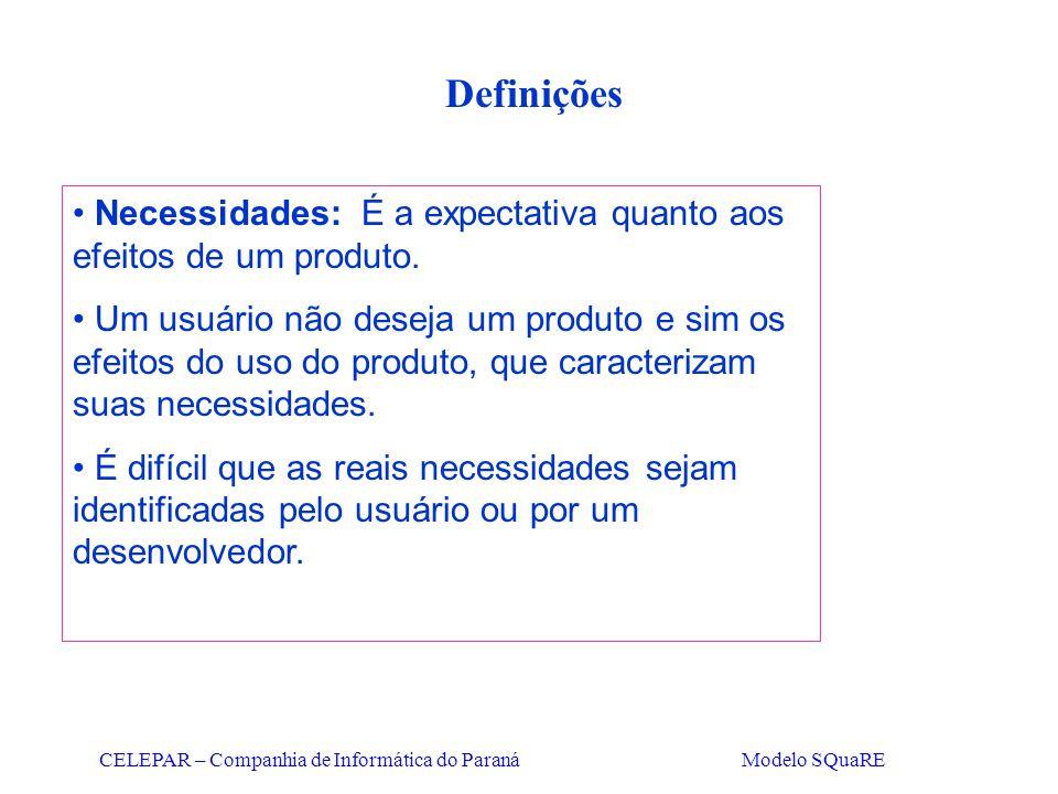 CELEPAR – Companhia de Informática do Paraná Modelo SQuaRE Definições Necessidades: É a expectativa quanto aos efeitos de um produto. Um usuário não d