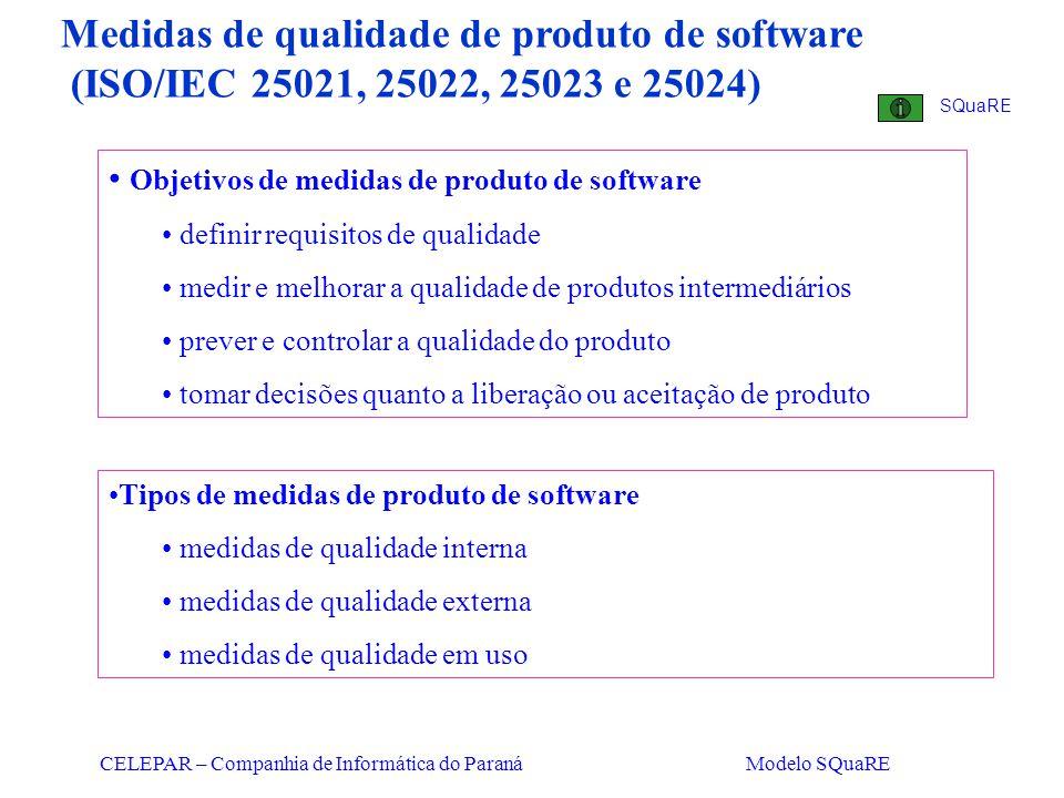 CELEPAR – Companhia de Informática do Paraná Modelo SQuaRE Medidas de qualidade de produto de software (ISO/IEC 25021, 25022, 25023 e 25024) Objetivos
