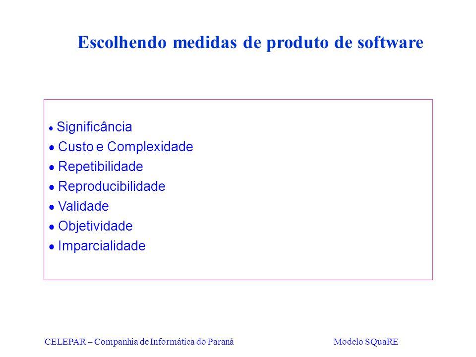 CELEPAR – Companhia de Informática do Paraná Modelo SQuaRE Escolhendo medidas de produto de software  Significância  Custo e Complexidade  Repetibi