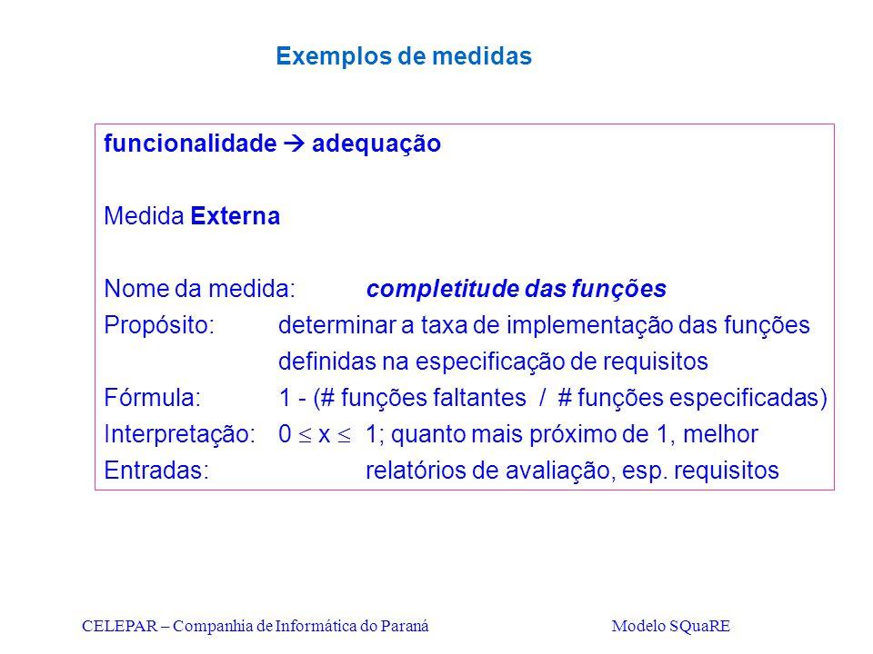 CELEPAR – Companhia de Informática do Paraná Modelo SQuaRE funcionalidade  adequação Medida Externa Nome da medida:completitude das funções Propósito