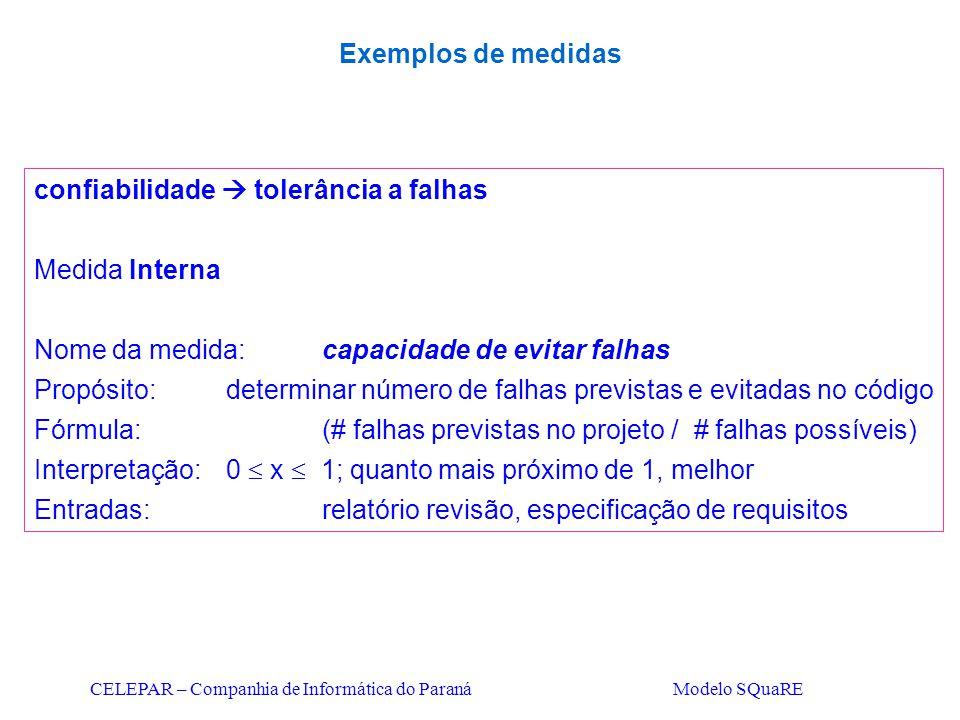 CELEPAR – Companhia de Informática do Paraná Modelo SQuaRE confiabilidade  tolerância a falhas Medida Interna Nome da medida:capacidade de evitar fal