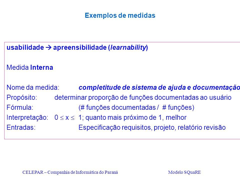 CELEPAR – Companhia de Informática do Paraná Modelo SQuaRE usabilidade  apreensibilidade (learnability) Medida Interna Nome da medida:completitude de