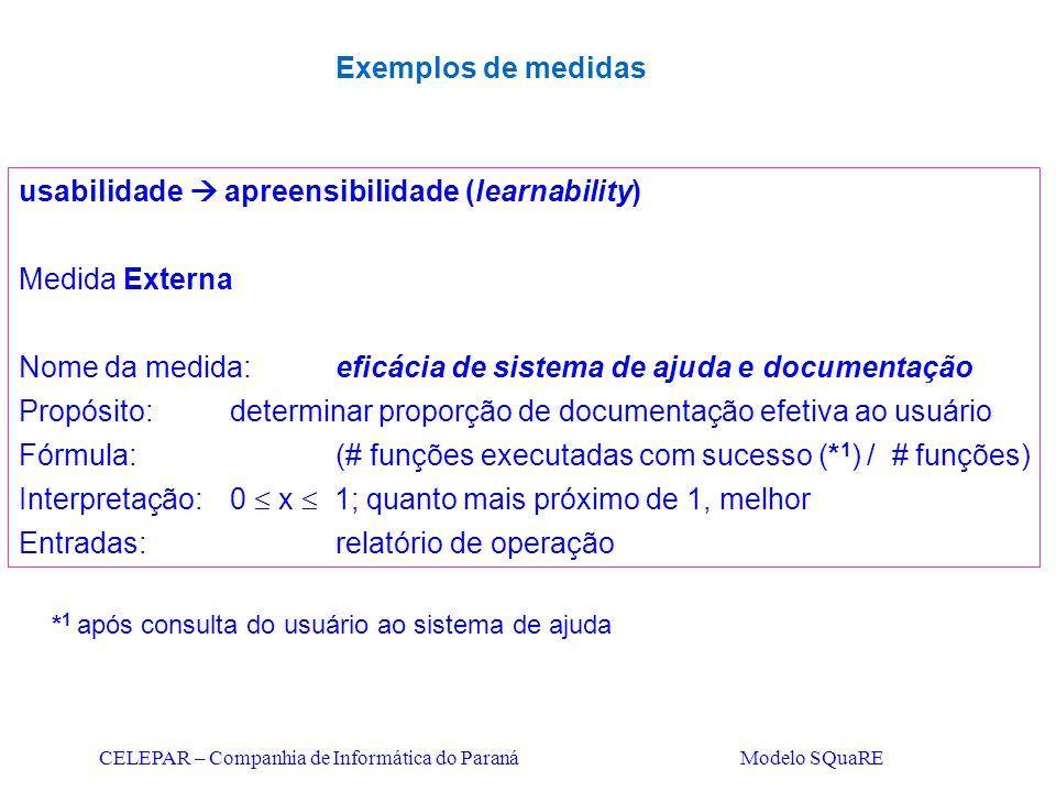 CELEPAR – Companhia de Informática do Paraná Modelo SQuaRE usabilidade  apreensibilidade (learnability) Medida Externa Nome da medida:eficácia de sis