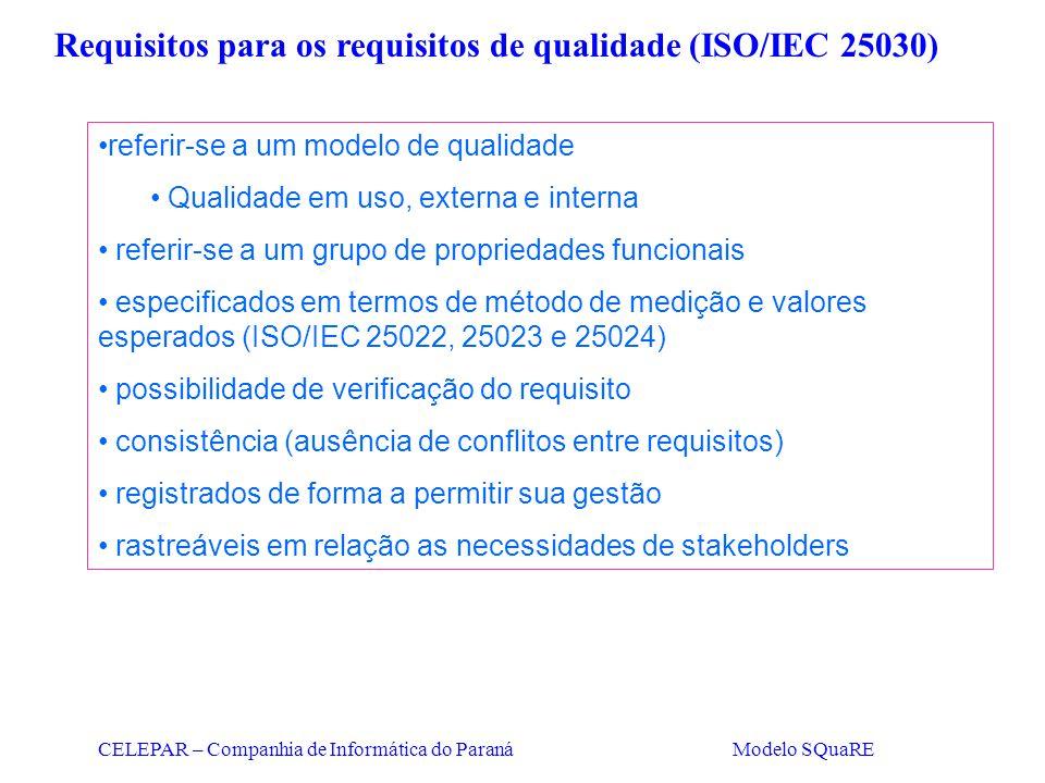 CELEPAR – Companhia de Informática do Paraná Modelo SQuaRE Requisitos para os requisitos de qualidade (ISO/IEC 25030) referir-se a um modelo de qualid