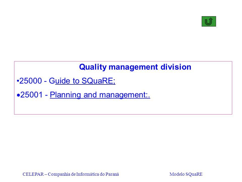 CELEPAR – Companhia de Informática do Paraná Modelo SQuaRE Quality management division 25000 - Guide to SQuaRE;  25001 - Planning and management:.