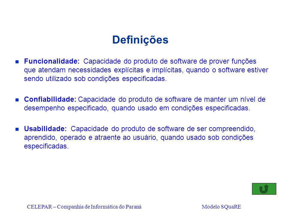 CELEPAR – Companhia de Informática do Paraná Modelo SQuaRE Definições n Funcionalidade: Capacidade do produto de software de prover funções que atenda