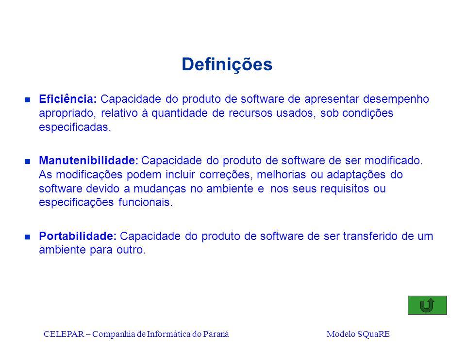 CELEPAR – Companhia de Informática do Paraná Modelo SQuaRE Definições n Eficiência: Capacidade do produto de software de apresentar desempenho apropri