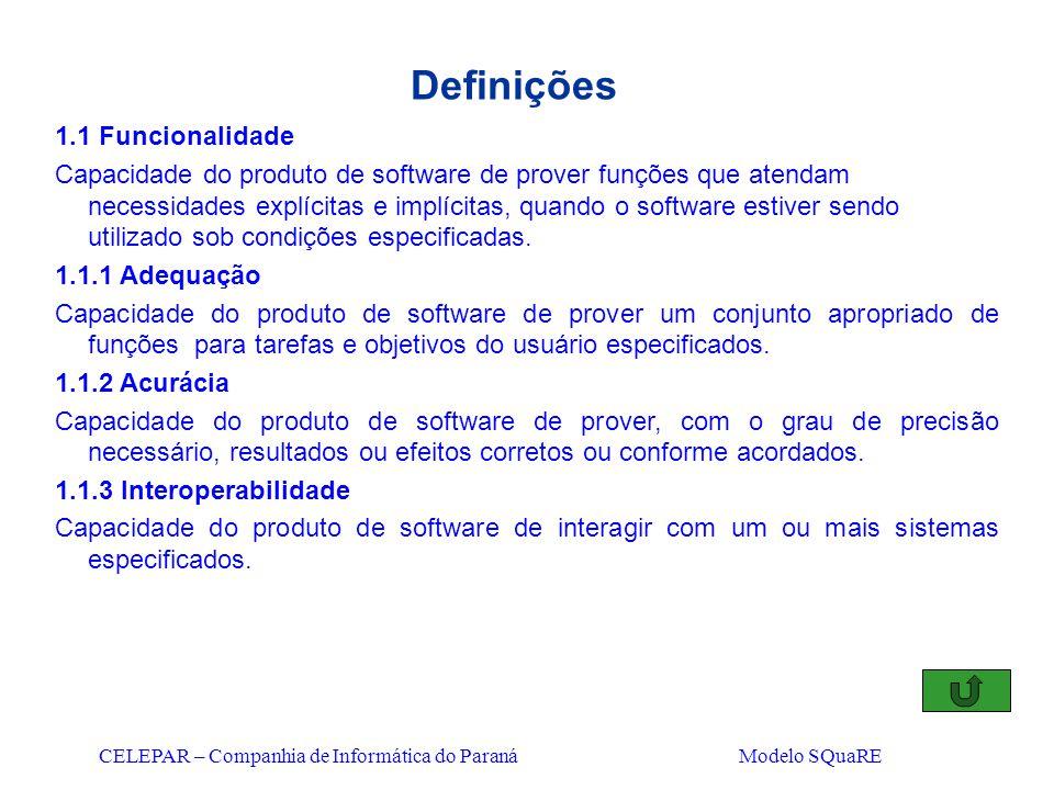 CELEPAR – Companhia de Informática do Paraná Modelo SQuaRE Definições 1.1 Funcionalidade Capacidade do produto de software de prover funções que atend