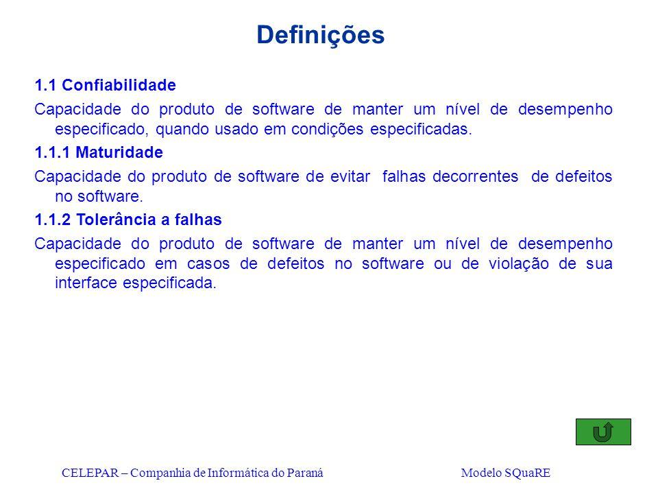 CELEPAR – Companhia de Informática do Paraná Modelo SQuaRE Definições 1.1 Confiabilidade Capacidade do produto de software de manter um nível de desem