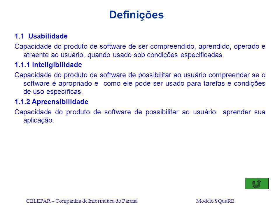 CELEPAR – Companhia de Informática do Paraná Modelo SQuaRE Definições 1.1 Usabilidade Capacidade do produto de software de ser compreendido, aprendido