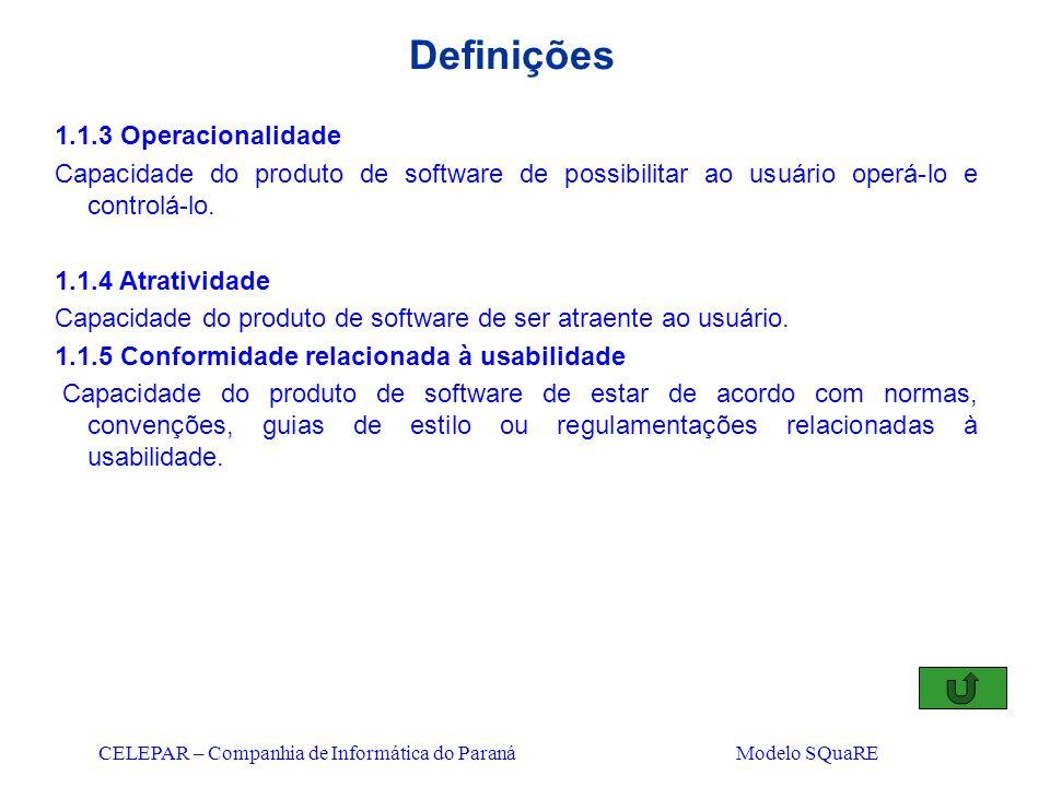 CELEPAR – Companhia de Informática do Paraná Modelo SQuaRE Definições 1.1.3 Operacionalidade Capacidade do produto de software de possibilitar ao usuá