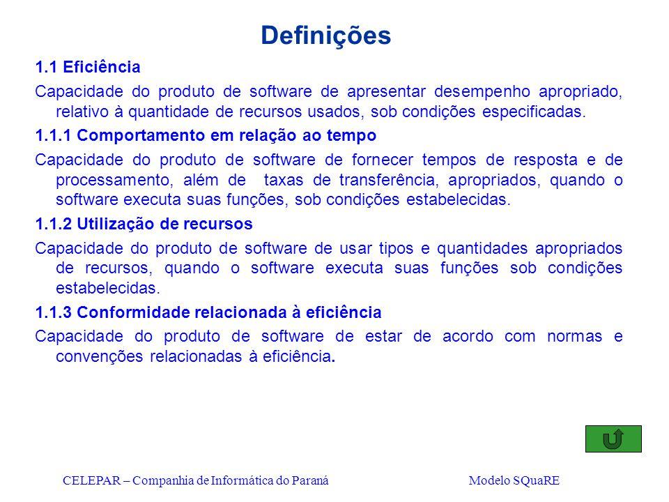 CELEPAR – Companhia de Informática do Paraná Modelo SQuaRE Definições 1.1 Eficiência Capacidade do produto de software de apresentar desempenho apropr