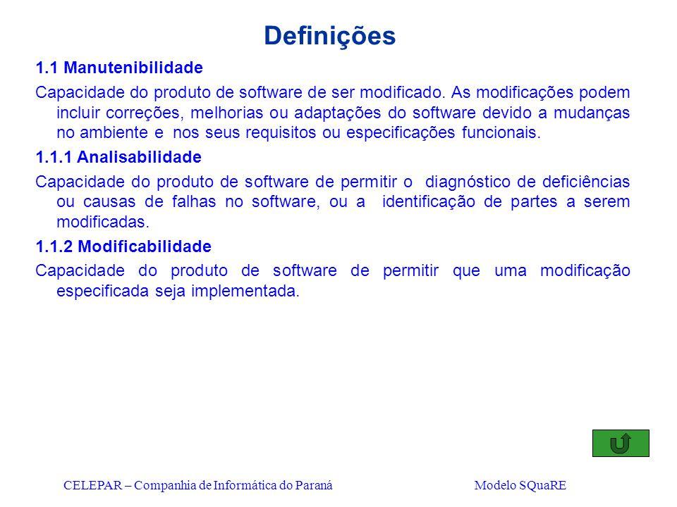 CELEPAR – Companhia de Informática do Paraná Modelo SQuaRE Definições 1.1 Manutenibilidade Capacidade do produto de software de ser modificado. As mod