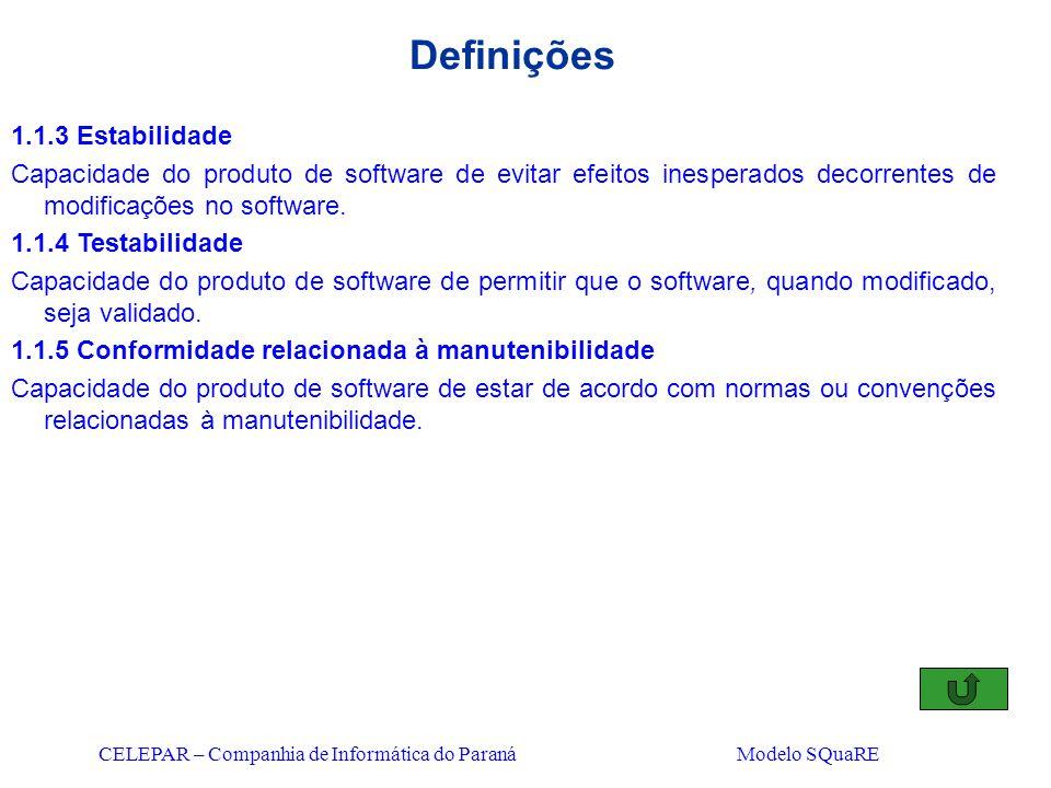CELEPAR – Companhia de Informática do Paraná Modelo SQuaRE Definições 1.1.3 Estabilidade Capacidade do produto de software de evitar efeitos inesperad