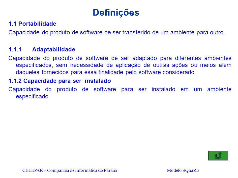 CELEPAR – Companhia de Informática do Paraná Modelo SQuaRE Definições 1.1 Portabilidade Capacidade do produto de software de ser transferido de um amb