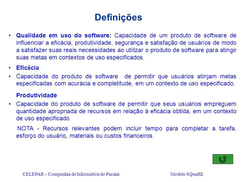 CELEPAR – Companhia de Informática do Paraná Modelo SQuaRE Definições Qualidade em uso do software: Capacidade de um produto de software de influencia