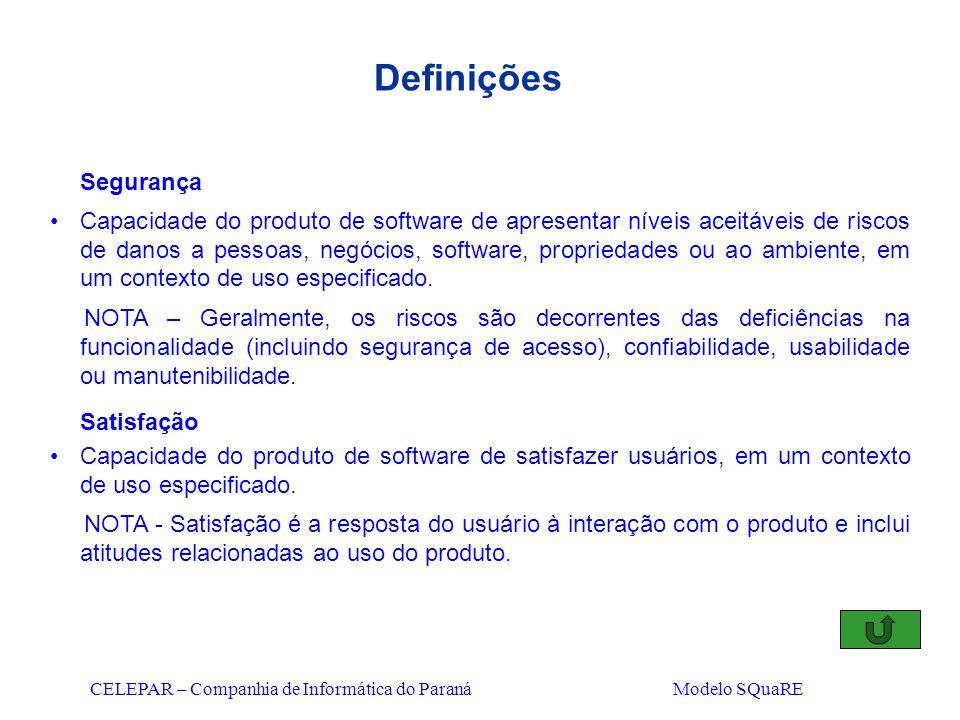 CELEPAR – Companhia de Informática do Paraná Modelo SQuaRE Definições Segurança Capacidade do produto de software de apresentar níveis aceitáveis de r
