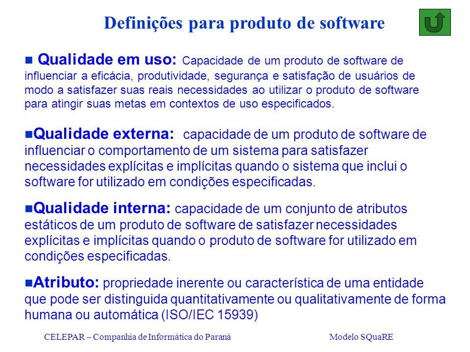 CELEPAR – Companhia de Informática do Paraná Modelo SQuaRE n Qualidade em uso: Capacidade de um produto de software de influenciar a eficácia, produti