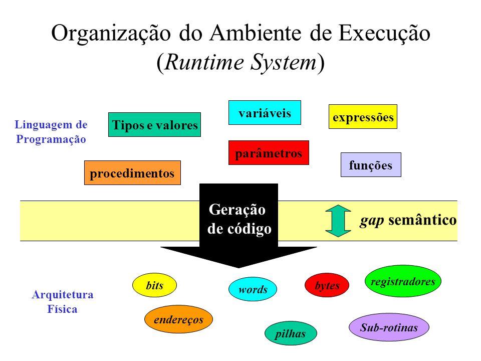 Organização do Ambiente de Execução (Runtime System) gap semântico Geração de código Tipos e valores variáveis expressões procedimentos funções parâme