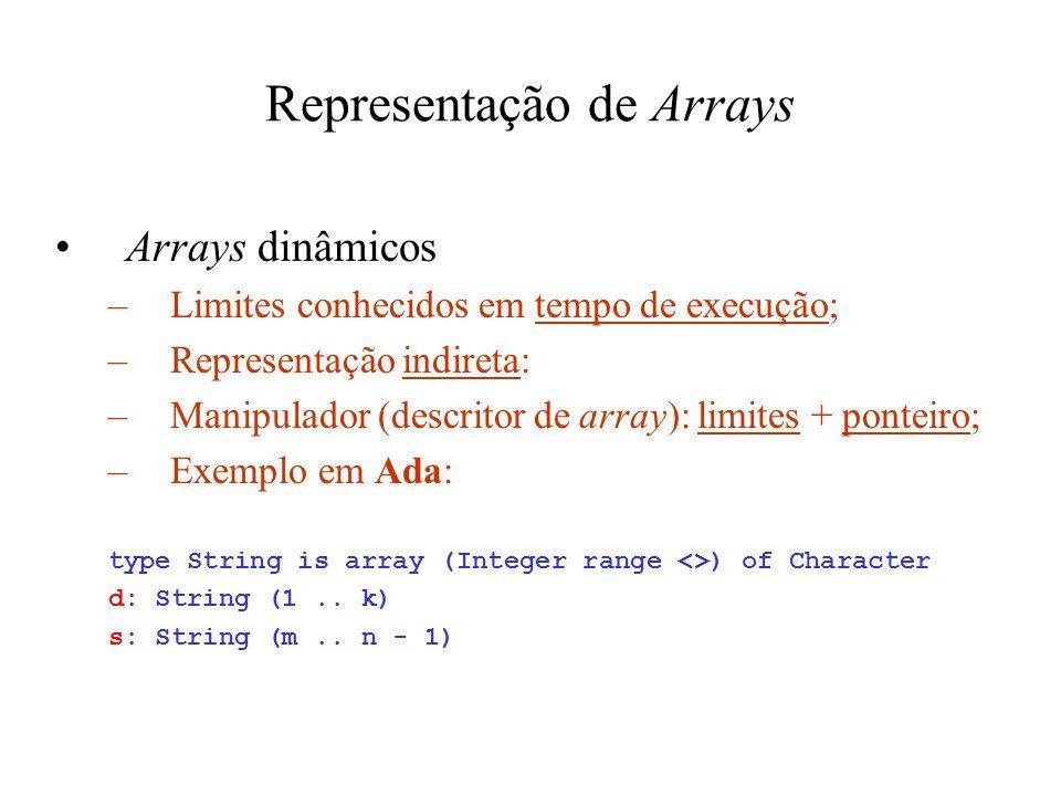 Representação de Arrays Arrays dinâmicos –Limites conhecidos em tempo de execução; –Representação indireta: –Manipulador (descritor de array): limites + ponteiro; –Exemplo em Ada: type String is array (Integer range <>) of Character d: String (1..