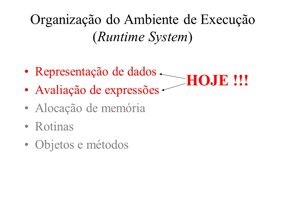 Organização do Ambiente de Execução (Runtime System) Representação de dados Avaliação de expressões Alocação de memória Rotinas Objetos e métodos HOJE !!!