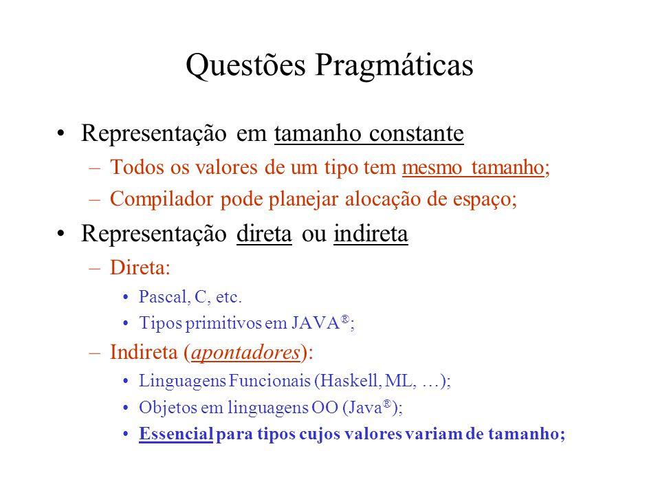 Questões Pragmáticas Representação em tamanho constante –Todos os valores de um tipo tem mesmo tamanho; –Compilador pode planejar alocação de espaço; Representação direta ou indireta –Direta: Pascal, C, etc.