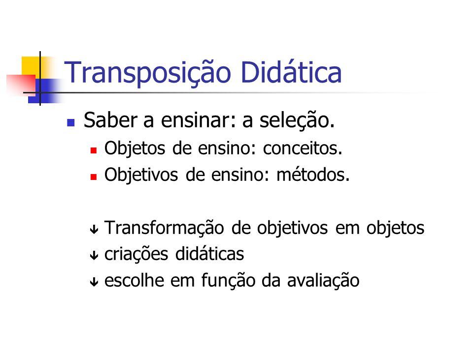 Transposição Didática Saber a ensinar: a seleção. Objetos de ensino: conceitos. Objetivos de ensino: métodos. ê Transformação de objetivos em objetos