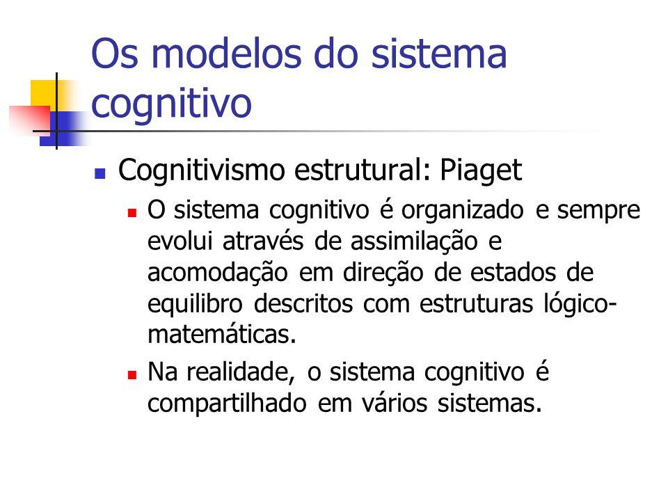 Cognitivismo estrutural: Piaget O sistema cognitivo é organizado e sempre evolui através de assimilação e acomodação em direção de estados de equilibro descritos com estruturas lógico- matemáticas.