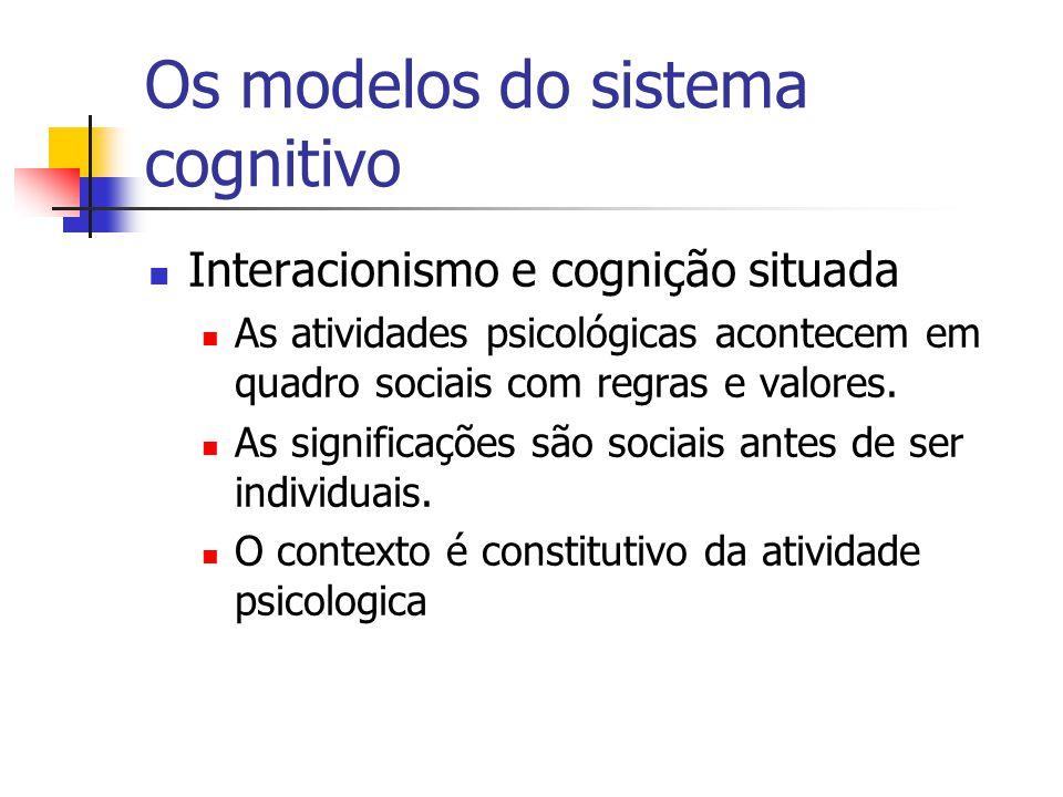 Interacionismo e cognição situada As atividades psicológicas acontecem em quadro sociais com regras e valores. As significações são sociais antes de s