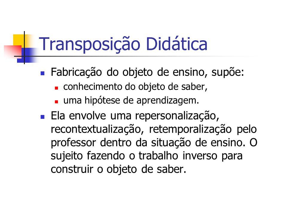 Transposição Didática Fabricação do objeto de ensino, supõe: conhecimento do objeto de saber, uma hipótese de aprendizagem. Ela envolve uma repersonal