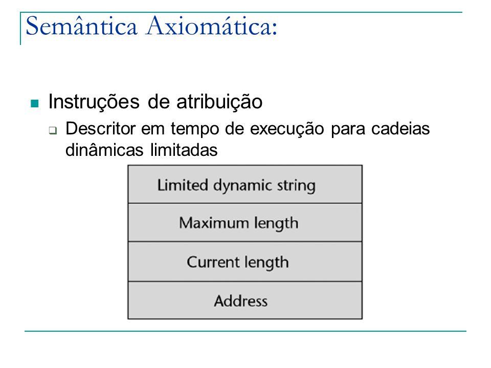 Semântica Axiomática: Instruções de atribuição  Descritor em tempo de execução para cadeias dinâmicas limitadas