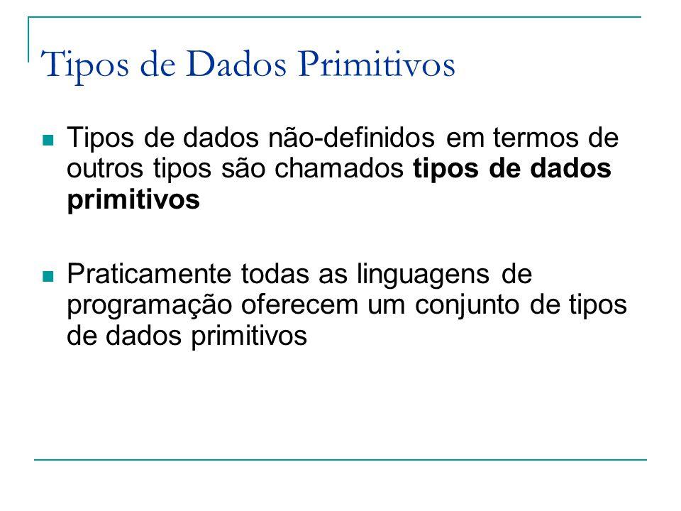 Tipos de Dados Primitivos Tipos de dados não-definidos em termos de outros tipos são chamados tipos de dados primitivos Praticamente todas as linguagens de programação oferecem um conjunto de tipos de dados primitivos