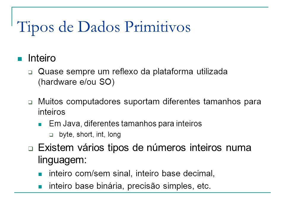 Tipos de Dados Primitivos Inteiro  Quase sempre um reflexo da plataforma utilizada (hardware e/ou SO)  Muitos computadores suportam diferentes taman