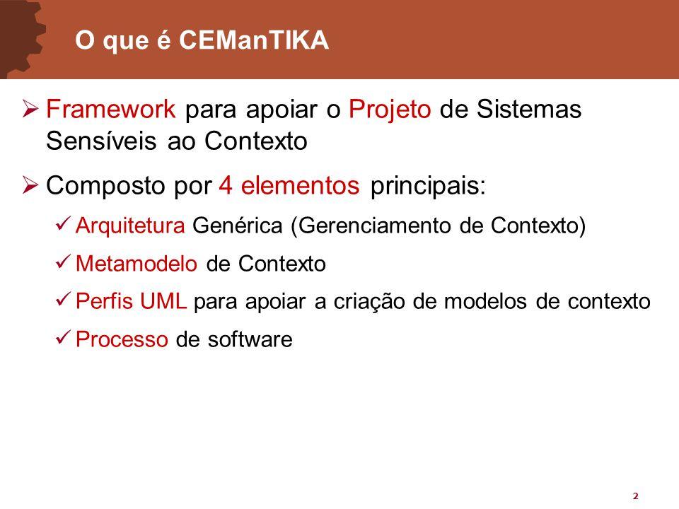 2 O que é CEManTIKA  Framework para apoiar o Projeto de Sistemas Sensíveis ao Contexto  Composto por 4 elementos principais: Arquitetura Genérica (Gerenciamento de Contexto) Metamodelo de Contexto Perfis UML para apoiar a criação de modelos de contexto Processo de software