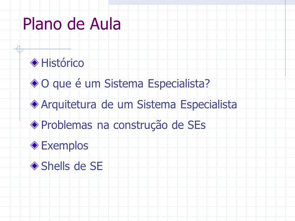 Plano de Aula Histórico O que é um Sistema Especialista? Arquitetura de um Sistema Especialista Problemas na construção de SEs Exemplos Shells de SE