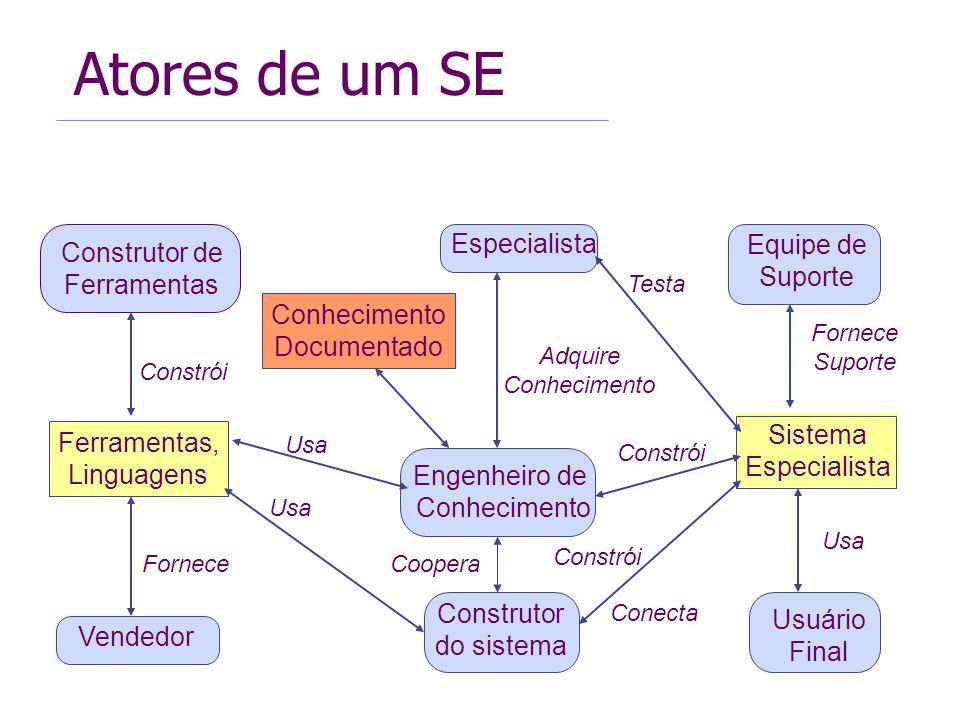 Sistema Especialista Engenheiro de Conhecimento Ferramentas, Linguagens Construtor de Ferramentas Construtor do sistema Especialista Equipe de Suporte