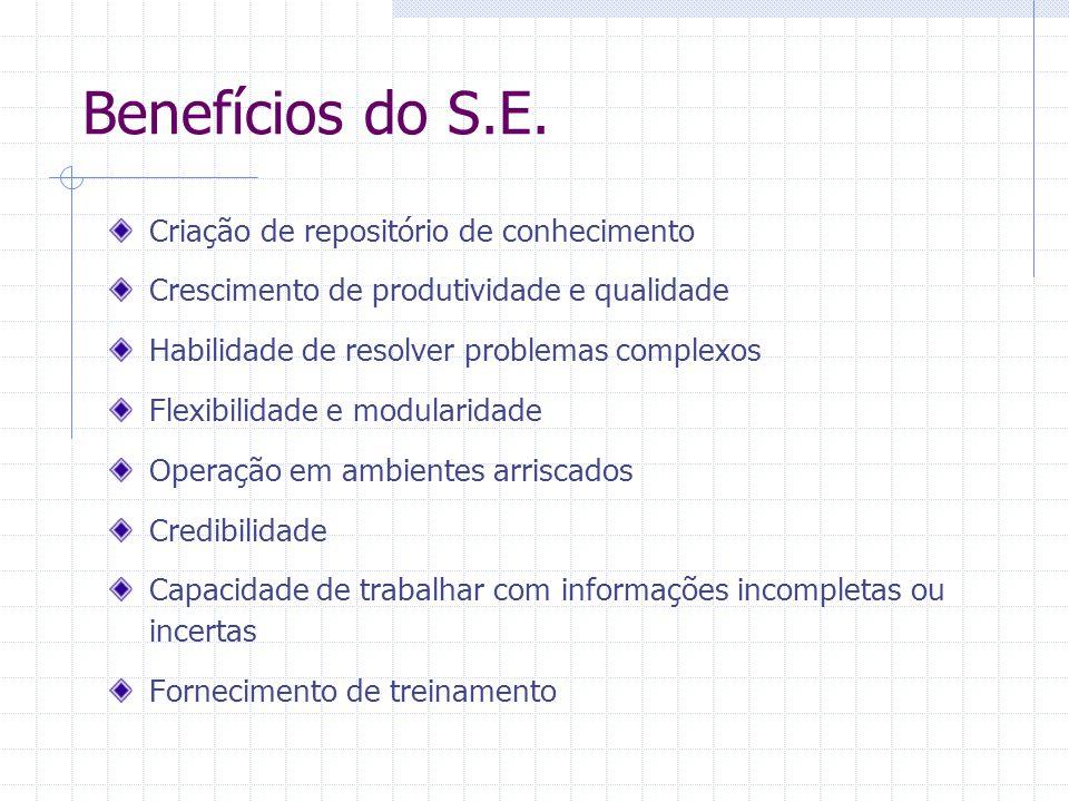 Benefícios do S.E. Criação de repositório de conhecimento Crescimento de produtividade e qualidade Habilidade de resolver problemas complexos Flexibil