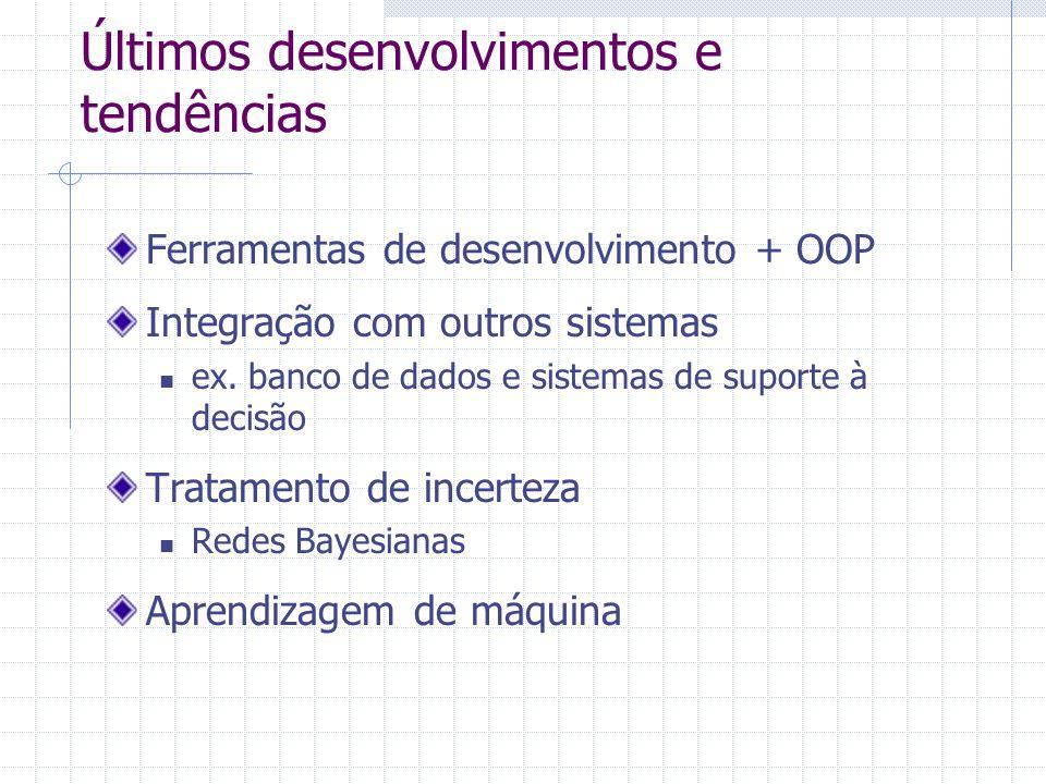 Últimos desenvolvimentos e tendências Ferramentas de desenvolvimento + OOP Integração com outros sistemas ex. banco de dados e sistemas de suporte à d