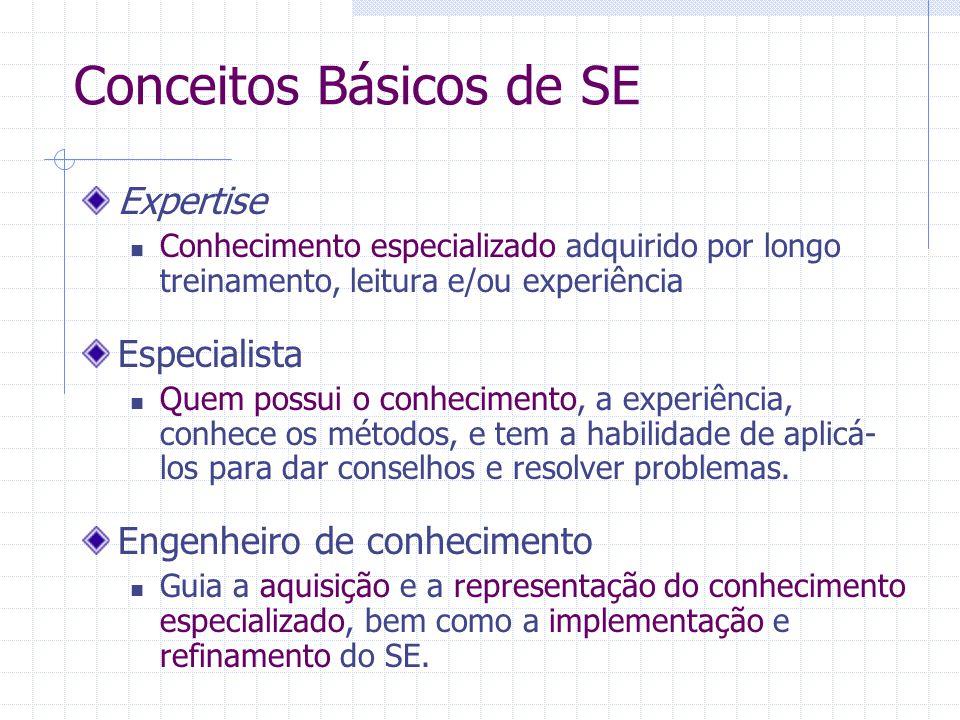 Conceitos Básicos de SE Expertise Conhecimento especializado adquirido por longo treinamento, leitura e/ou experiência Especialista Quem possui o conh