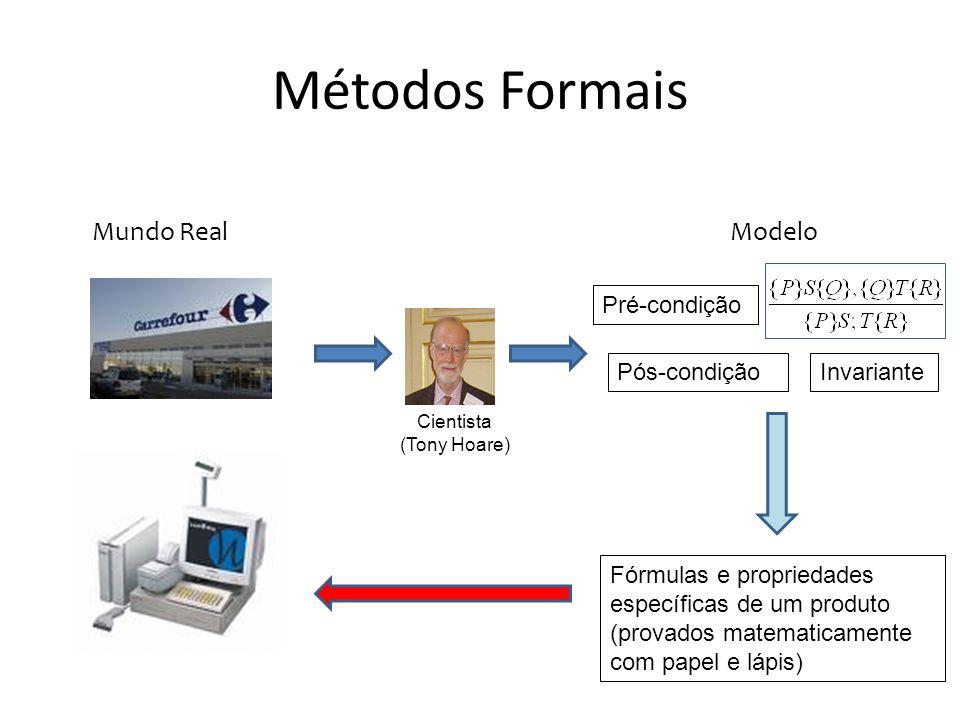 Métodos Formais Cientista (Tony Hoare) Pré-condição Pós-condiçãoInvariante Mundo RealModelo Fórmulas e propriedades específicas de um produto (provado