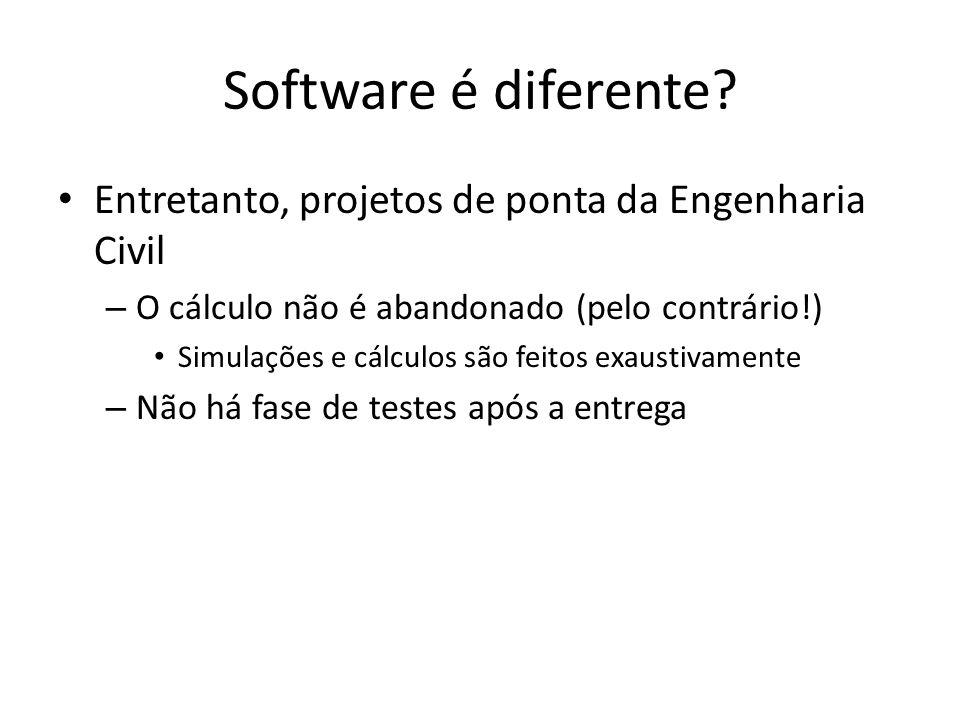 Software é diferente? Entretanto, projetos de ponta da Engenharia Civil – O cálculo não é abandonado (pelo contrário!) Simulações e cálculos são feito