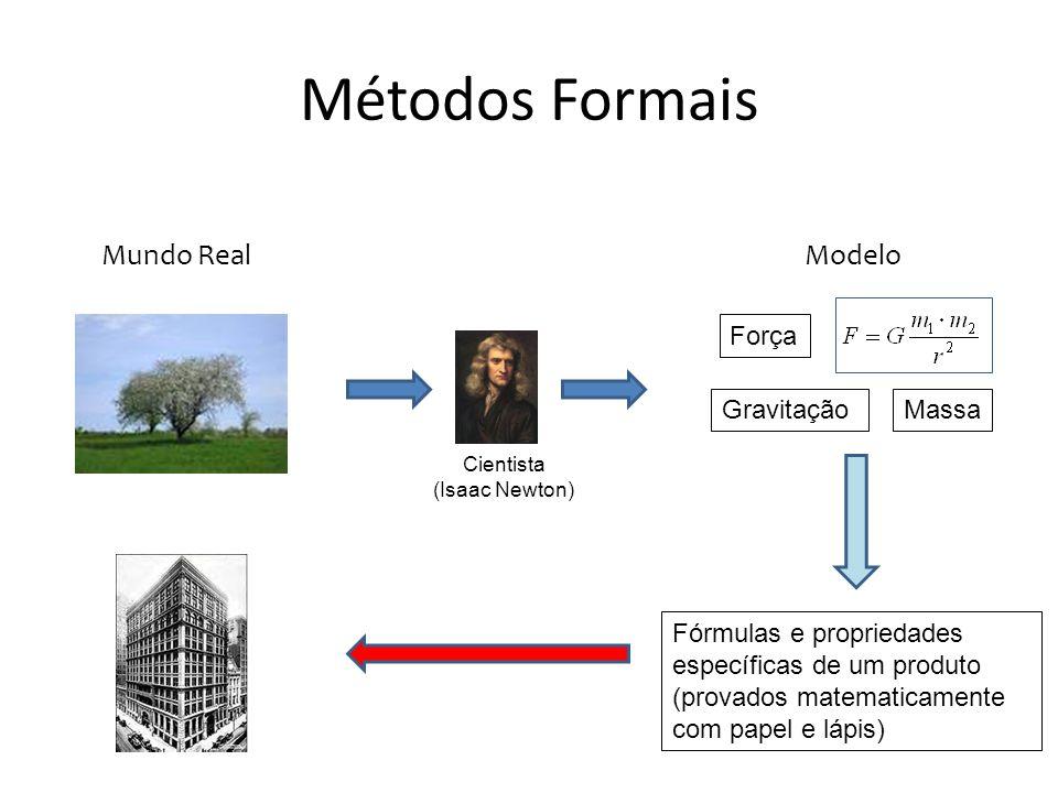 Métodos Formais Cientista (Tony Hoare) Pré-condição Pós-condiçãoInvariante Mundo RealModelo Fórmulas e propriedades específicas de um produto (provados matematicamente com papel e lápis)