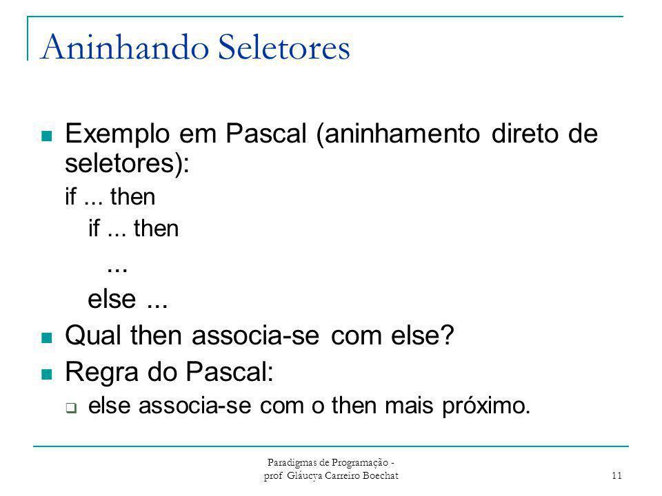 Paradigmas de Programação - prof Gláucya Carreiro Boechat 11 Aninhando Seletores Exemplo em Pascal (aninhamento direto de seletores): if... then... el