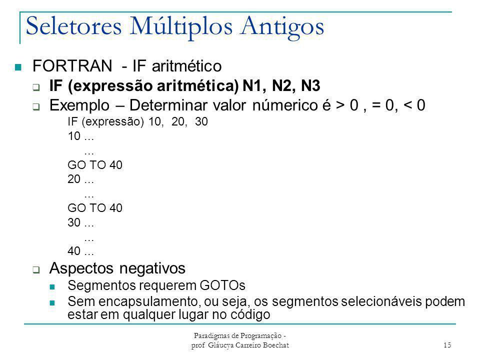 Paradigmas de Programação - prof Gláucya Carreiro Boechat 15 Seletores Múltiplos Antigos FORTRAN - IF aritmético  IF (expressão aritmética) N1, N2, N
