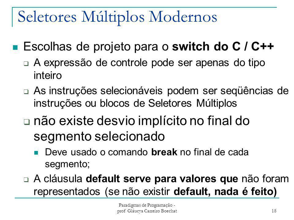 Seletores Múltiplos Modernos Escolhas de projeto para o switch do C / C++  A expressão de controle pode ser apenas do tipo inteiro  As instruções se