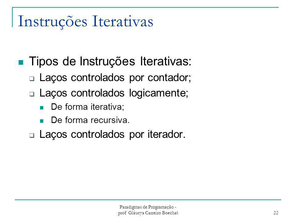 Instruções Iterativas Tipos de Instruções Iterativas:  Laços controlados por contador;  Laços controlados logicamente; De forma iterativa; De forma