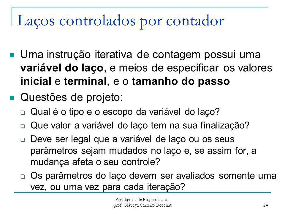Laços controlados por contador Uma instrução iterativa de contagem possui uma variável do laço, e meios de especificar os valores inicial e terminal,